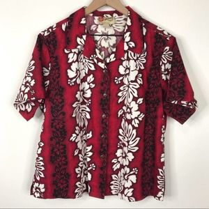 Hilo Hottie Red White Hawaiian Floral Button Shirt